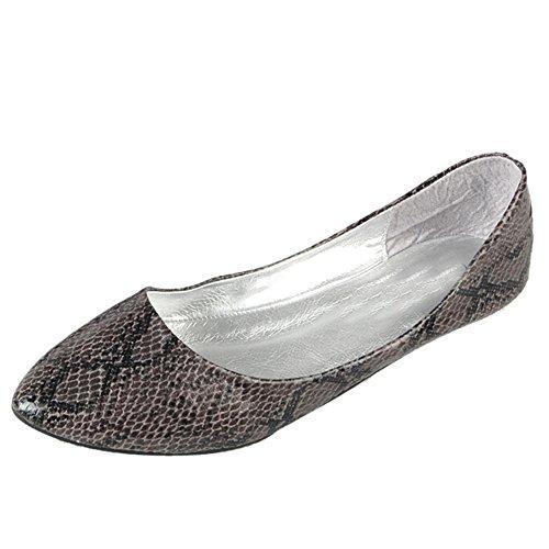 Scarpe Da Donna A Punta In Pelle Con Stampa Serpente Slip On Ballet Flat Deep Grey