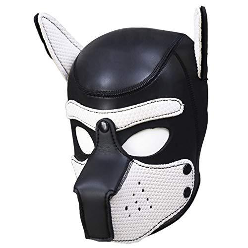 - Full Face Mask Dog Puppy Hood Custom Animal Head Mask Novelty Costume Dog Head Masks Party Props (Black + White)