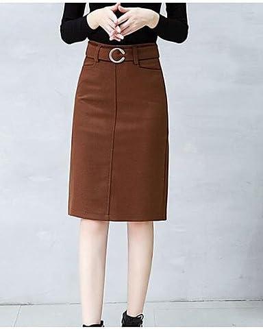 Mayihang Falda de vestir para mujer casual diaria rodilla longitud ...