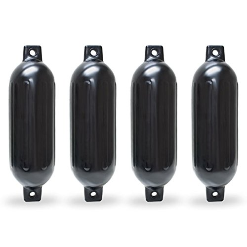 Twin Eye Ribbed Boat Pontoon Fender 6.5' x 23' 4pcs Inflatable Vinyl Mooring Bumpers Guard Dock Docking - Black KapscoMoto