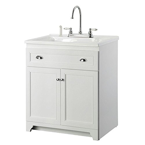 Foremost Keats 30 in. Laundry Vanity with Acrylic Sink and Faucet Kit in White
