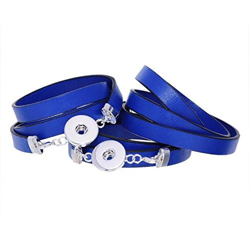 Souarts Bleu Fonce Multi Rangs Bracelet Cuir PU pour Bouton a Pression