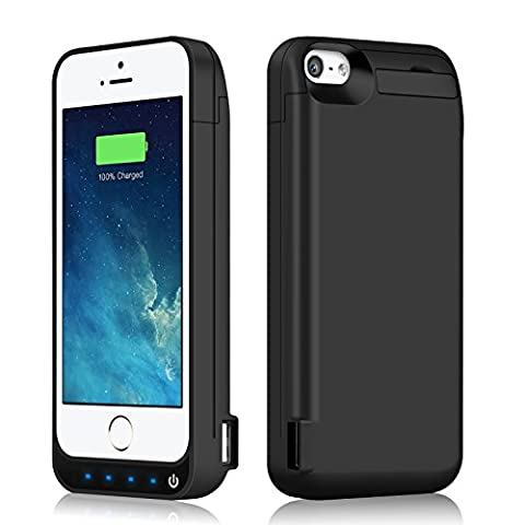 iPhone 5/5S/5C/SE Battery Case iPosible 4500mAh External Rechargeable Battery Case for iPhone 5/5S/5C/SE Charging Case Power Juice Bank Battery Pack [24 Month (A Charging Iphone 5 Case)