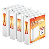 Cardinal Economy 2' Round-Ring Presentation View Binders, 3-Ring Binder, Holds 475 Sheets, Nonstick Poly Material, PVC-Free, White, 4-Pack (79520)