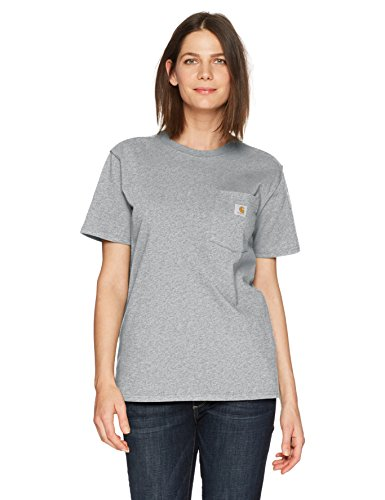 Carhartt Women's WK87 Workwear Pocket SS T-Shirt, Heather Gray, S -