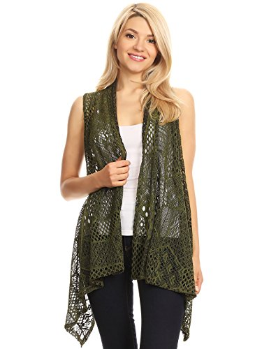 Anna-Kaci Womens Sleeveless Open Front Crochet Shawl Cardigan Bikini Cover up, Olive Green, Large/X-Large