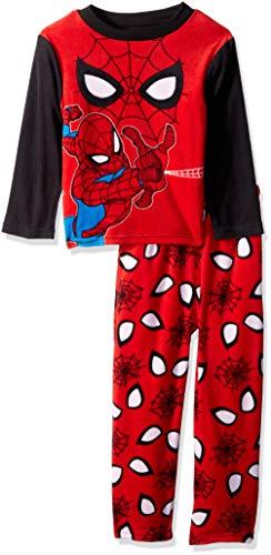 Marvel Boys' Big' Spiderman 2-Piece Fleece Pajama Set, Spidey Eyes, 8