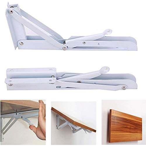 Accessbuy Folding Shelf Bracket Stainless Steel Triangle Wall Mount Support White Heavy Duty Shelf Brackets 2 PCS (8 inch)