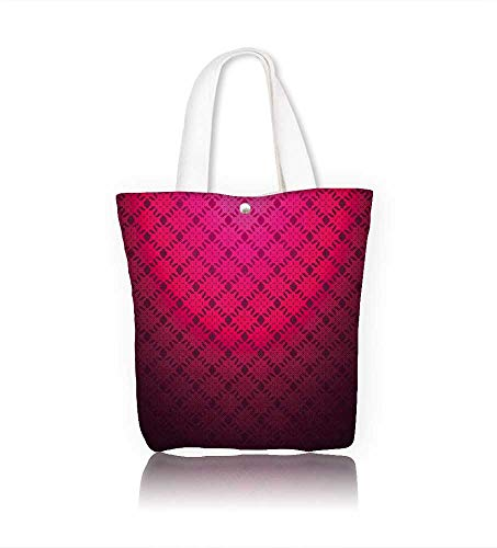 Reusable Cotton Canvas Zipper bag Magenta abstract striped textured geometric Tote Laptop Beach Handbags W21.7xH14xD7 INCH