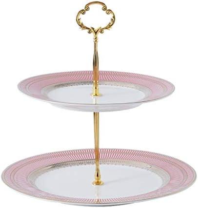 フルーツボウル リビングルームパーティーや結婚式、25.5x23.5cmのための2 -Tiers欧州のセラミックフルーツボウルストレージラック、スナックナッツケーキキャンディデザートプレートリフレッシュメントサービストレイディスプレイスタンド (Color : Pink)