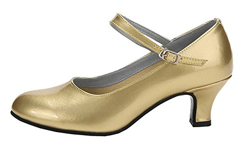 staychicfashion Damen Kitten Heel PU-Leder Moderne Latin Dance Schuhe im Freien Closed-Toe Flared Heels Gold / Gummi