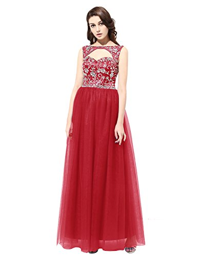 DRESSTELLS Long Prom Dress 2016 Scoop Tulle Evening Party Gowns With Beads Dark Red Size16