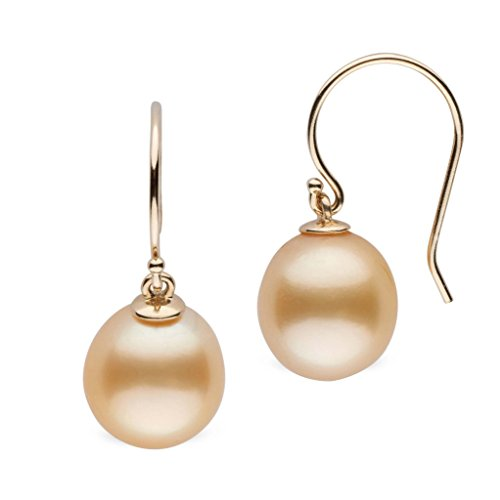 Sea 11mm Golden Pearl South (Shepherd Collection Drop Golden South Sea 10.0-11.0 mm Cultured Pearl Earrings 14K Yellow Gold)