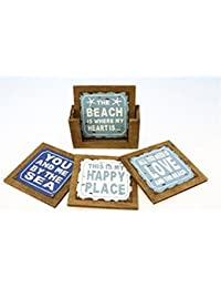 Win 4 Beach Sayings Coasters in Wood Holder compare