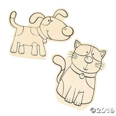 Large Color Your Own Wood Cat & Dog Shapes - Crafts for Kids and Fun Home Activities: Toys & Games