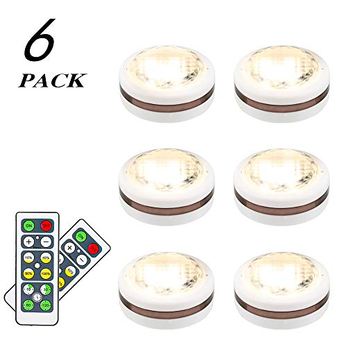 - LEASTYLE Wireless LED Puck Lights with Remote Control 6 pack, LED Under Cabinet Lighting,Puck Lights Battery Operated, Closet light, Under Counter Lighting, Stick On Lights