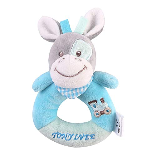 Gbell  Soft Cute Stuffed Animal Rattles Toy,Stuffed Animal Hand Bells Grasp Rattle Handle Clutching Rattle Toy Spin Rattle Shaker Bell Rattle Developmental Toys for Babies
