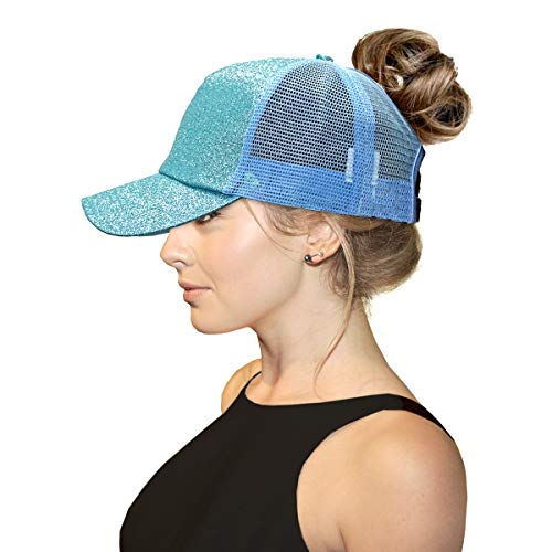 ccbeanie Ponycap Messy High Bun Ponytail Glitter Mesh Trucker Baseball Cap Ponytail Hats for Women Girl Running Visor Hats