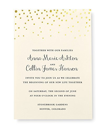 Gartner Studios Gold Foil Dot Invitation Kit, Set of 50 (Diy Wedding Invitation Kits)
