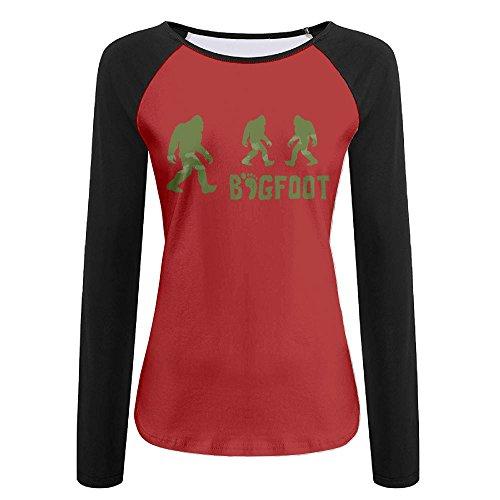 Ladies Shirt Future Is Female Green Bigfoot Print Casual Baseball Boat Neckline Fashion Long Sleeve Women