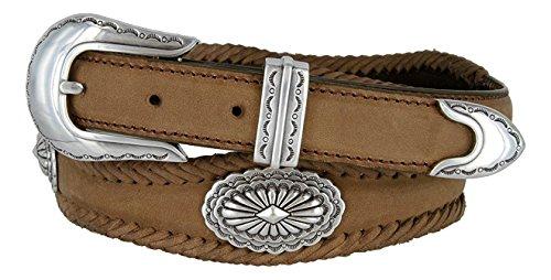 Hagora Men Oil-Tanned Leather Laced Silver Sunrise Conchos 3 Piece Buckle Belt,Brown 42