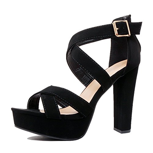 Strap Blackv5 Pu Heel Shoes Ankle Fashion High Platform Cutout Guilty Sandals Gladiator wqavxAFgI