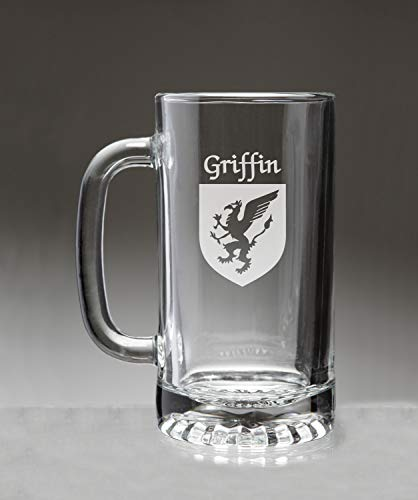 (Griffin Irish Coat of Arms Glass Beer Mug (Sand Etched))