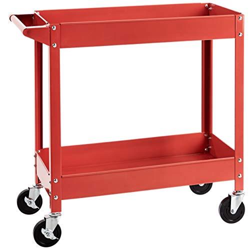 AmazonBasics Steel 2-Shelf Multipurpose Tub Utility/Supply Cart with 400 lb capacity - Red
