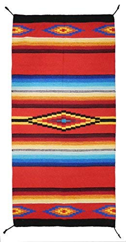 (El Paso Designs Hand Woven Classic Mexican Serape Rug Classic Mexican Saltillo Diamond Design Rug - - Three Sizes to Choose from (20