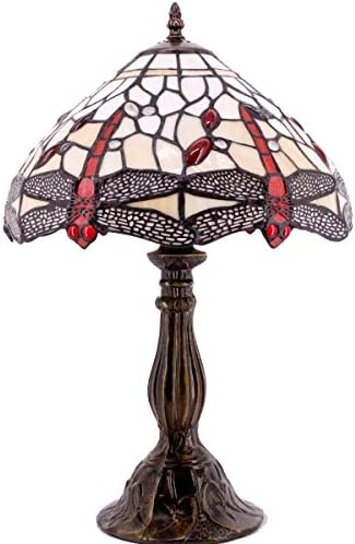 Tiffany Lamp 18 Inch Tall Sea Blue Stained Glass Dragonfly Crystal Style Shade Accent Antique End Bedside Art Table Desk Light Decorative Living Room Bedroom College Dorm S557 WERFACTORY S557