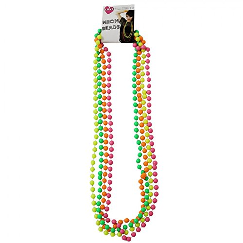 4 Colour Neon Beads Pink / Green / Yellow / Orange for 60s 70s 80s Disco Rave Fancy Dress Accessories