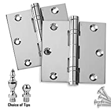"Door Hinges 3.5"" x 3.5"" Extruded Solid Brass Ball Bearing Hinge Heavy Duty Polished Chrome (US26) Stainless Steel Pin, Architectural Grade, Ball/Urn/Button Tips Included (2)"