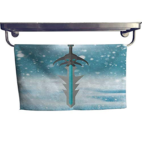 - Leigh home Dry Fast Towel, has Menethil Cursed Sword Pattern Weap Evil Be Fantasy White Blue ,Gym Swim Hotel Use W 35.5