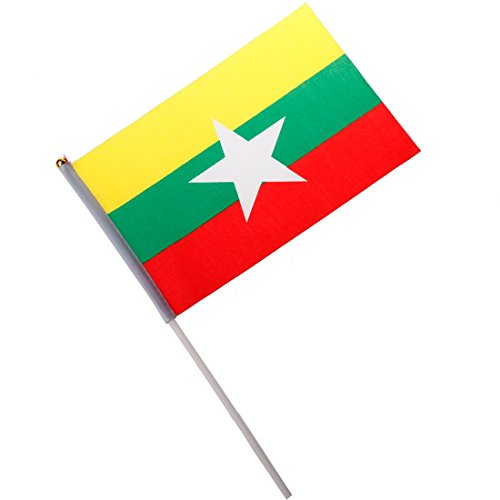 National Flag of Countries Hand Waving Flag with Pole Burma (Burma National Flag)