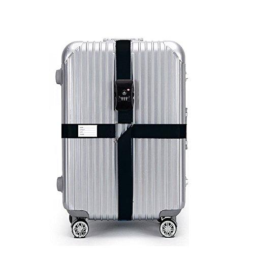 BlueCosto Black TSA Lock Adjustable Luggage Strap Cross Suitcase Belts Travel Bag...