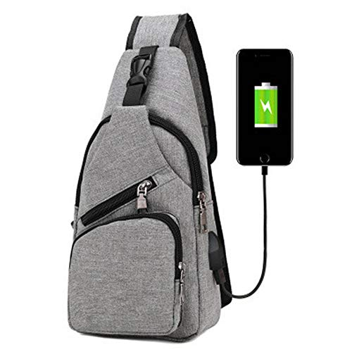(HANTERE Men Canvas Chest Bag Outdoor Crossbody Sling Shoulder Backpack with USB Charging Large)