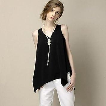 Mujer Camisas y blusas de mujer sólido Tamaño Grande chiffion Fashion Casual Irregular Depósitos, sin