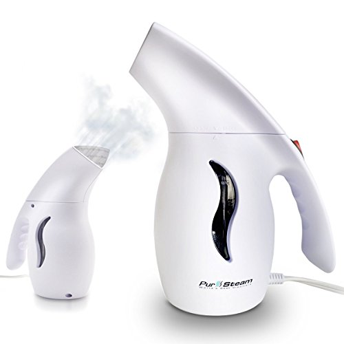 PurSteam Elite Powerful 5-1 Clothes/Garment/Fabric Steamer. Removes Wrinkles, Steams, Softens, Cleans and Sterilizes with UltraFast-Heat Aluminum Heating Element. Perfect for Home and Travel