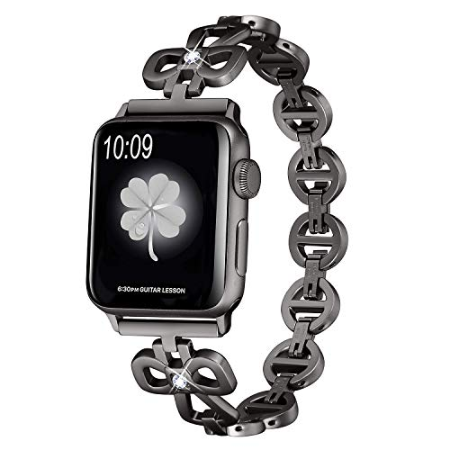 Secbolt Stainless Steel Bands Compatible Apple Watch Band 38mm 40mm iWatch Series 4, Series 3, Series 2, Series 1, Shamrock Link with Diamond Women Girls, Black