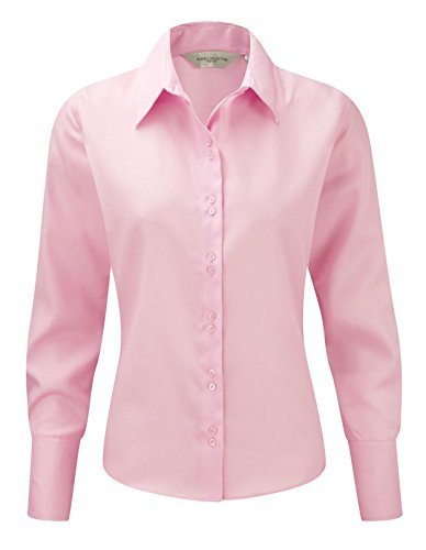 Russell Collection Ladies Long Sleeve Ultimate Non-Iron Shirt L/14 Classic Pink