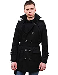 uxcell Men Button-tab Epaulets Slim Fit Double Breasted Belted Worsted Coat