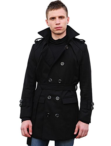 Allegra K Men Convertible Collar Belted Long Worsted Coat L Black