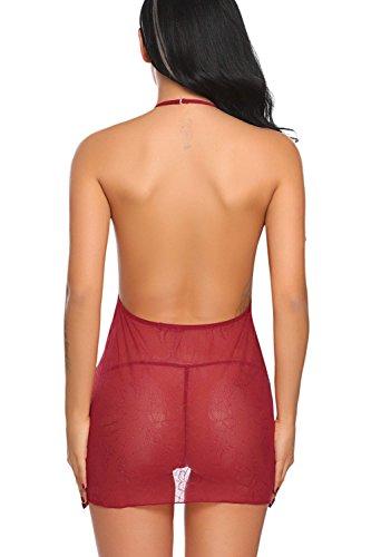 Scuro Sexy Donna Sleepwear Lace Babydolls Lingerie Sets Modfine Rosso Biancheria 4fwqZFq