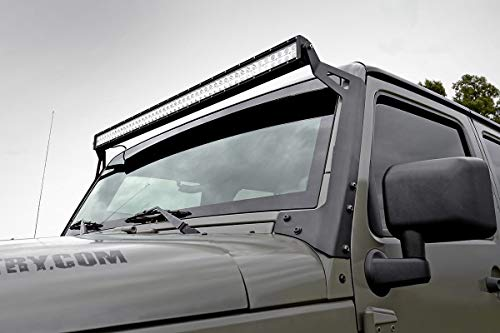 Rough Country 70504 Black 50 LED Light Bar Upper Windshield Mounting Bracket (Jeep JK/JKU)