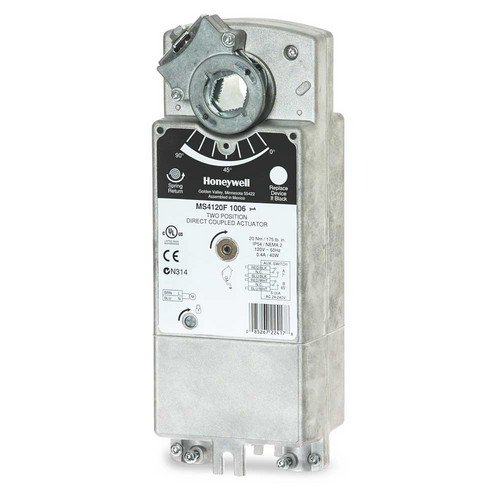 Two Position Actuator - Honeywell, Inc. MS8120F1002 FAST-ACTING, TWO-POSITION ACTUATOR - 175 LB-IN (20 NM), SPRING RETURN BY MOUNTING ORIENTATION, 24 VAC. INCLUDES TEFLON INSULATED WIRING CABLES.