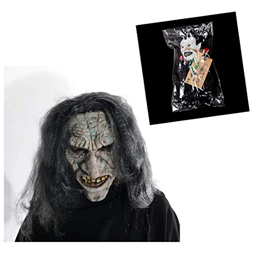 Hyaline&Dora Old Witch Face Masks For Halloween Masquerade Cosplay Party With 1pcs Holloween Hanging Prop Randomly Sent ()