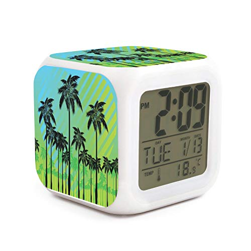 JWOJJUAW Wake Up Free Palm Tree Dimmer Snooze LED Nightlight Bedroom Desk Travel Digital Cool Alarm Clock for Kids Girls