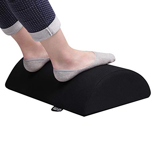 Foot Rest Under Desk Cushion - Height 4 - Foot Stool for Home and Office - Breathable Mesh Cover - Non-Slip Bottom - Ergonomic Half-Cylinder Pad for Extra Leg Support