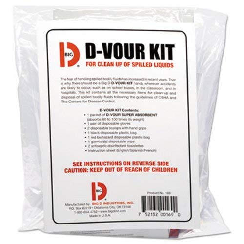 Big D 169 D-Vour Clean-Up Kit for Clean-Up and Disposal of Spilled Bodily Fluids (Pack of 6) - Ideal for use in schools, restaurants, health care facilities, grocery stores (Bodily Fluid)