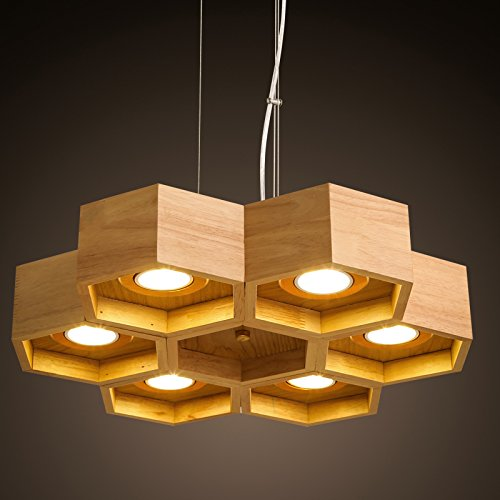 BBSLT Nordic wood chandelier modern minimalist Japanese style innovative study bedroom wooden Beehive pendant lamp 43080mm , Warm